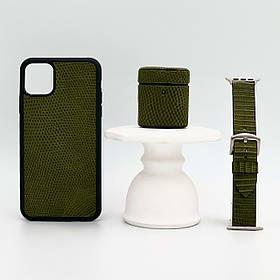 Набор из чехла для iPhone, чехла для AirPods и ремешка для Apple Watch цвета хаки из кожи Игуаны