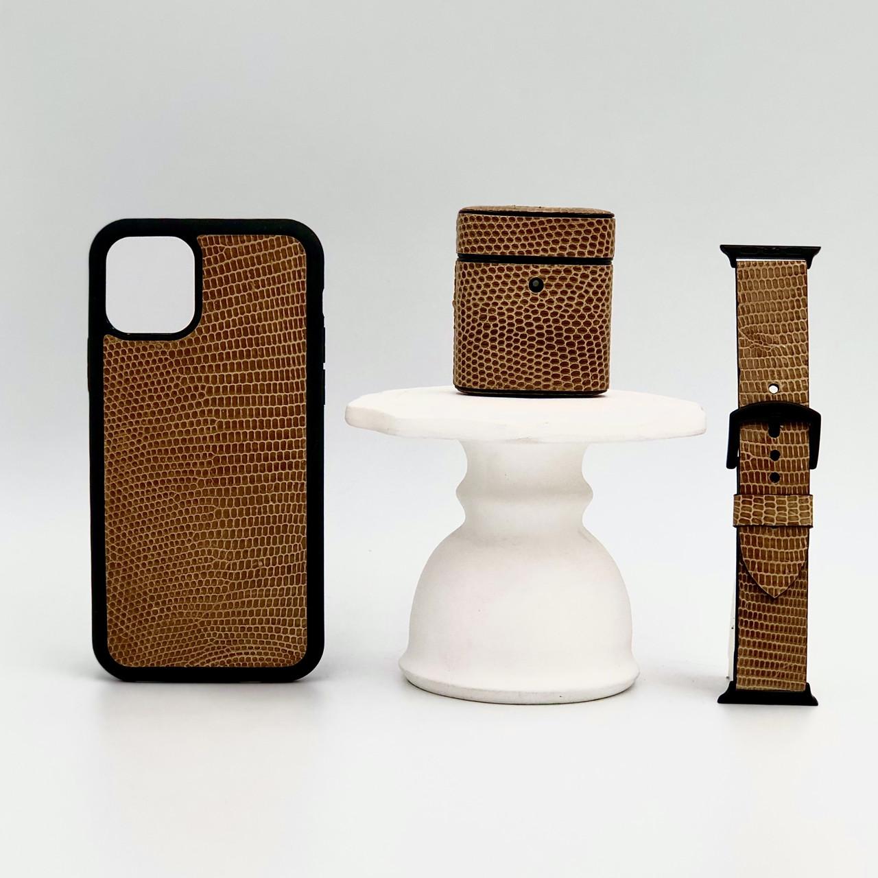 Набор из чехла для iPhone, чехла для AirPods и ремешка для Apple Watch желтого цвета из кожи Игуаны
