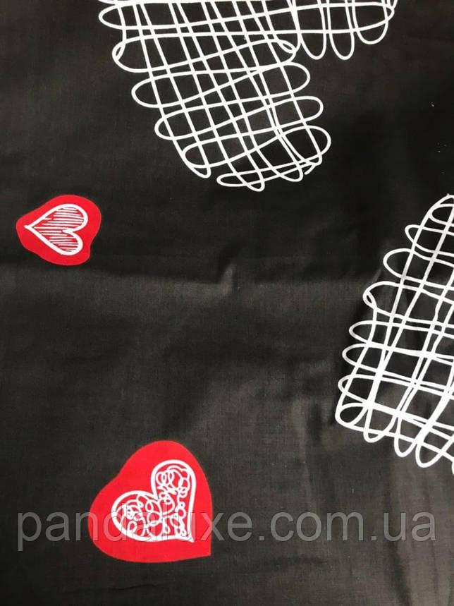 Постельное белье бязь голд, двуспальный евро комплект Сердца на черном, фото 2