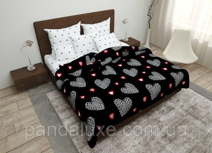 Постельное белье бязь голд, двуспальный евро комплект Сердца на черном