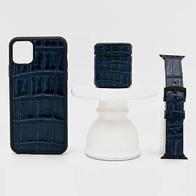 Набор из чехла для iPhone, чехла для AirPods и ремешка для Apple Watch синего цвета из кожи Крокодила