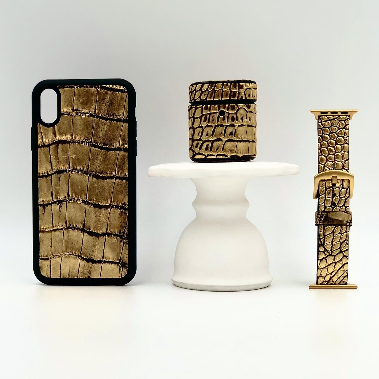Набор из чехла для iPhone, чехла для AirPods и ремешка для Apple Watch золотого цвета из кожи Крокодила