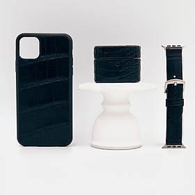 Набор из чехла для iPhone, чехла для AirPods и ремешка для Apple Watch чёрного цвета из кожи Крокодила