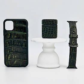 Набор из чехла для iPhone, для AirPods и ремешка для Apple Watch цвета зелёный винтаж из кожи Крокодила