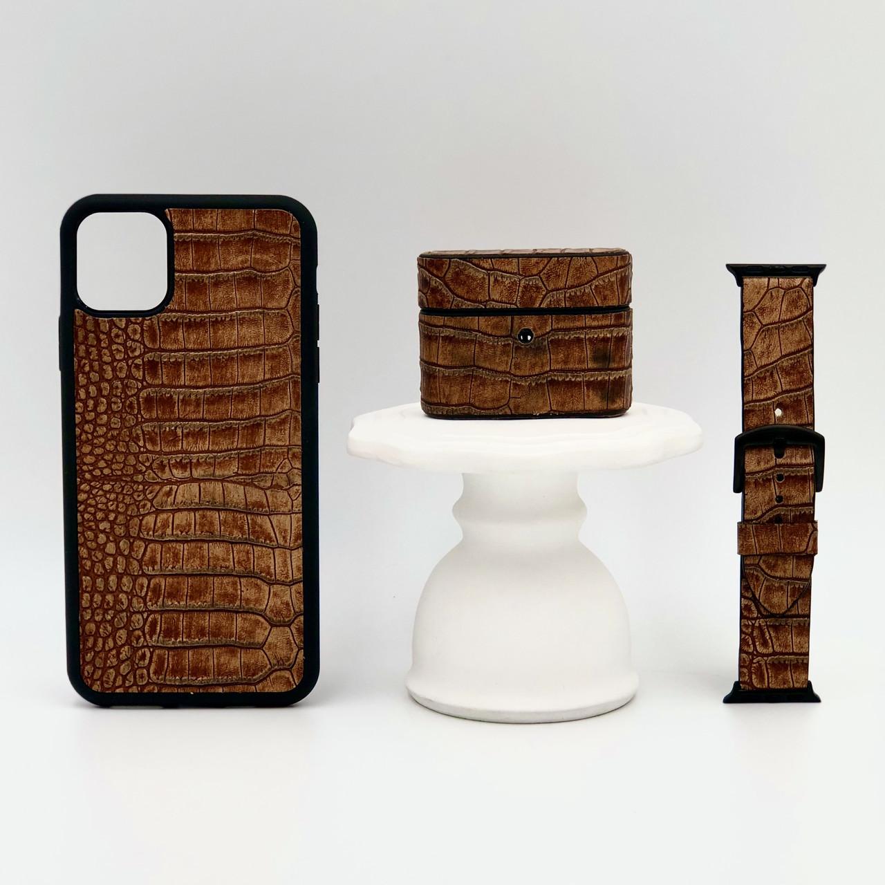 Набор из чехла для iPhone, чехла для AirPods и ремешка для Apple Watch коричневого цвета из Телячьей кожи