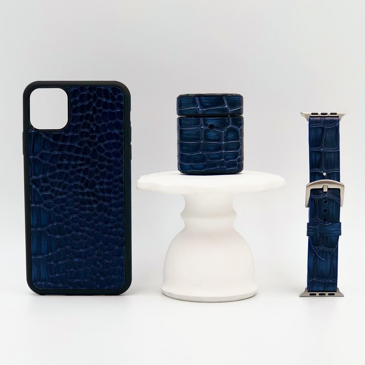 Набор из чехла для iPhone, чехла для AirPods и ремешка для Apple Watch синего цвета из Телячьей кожи