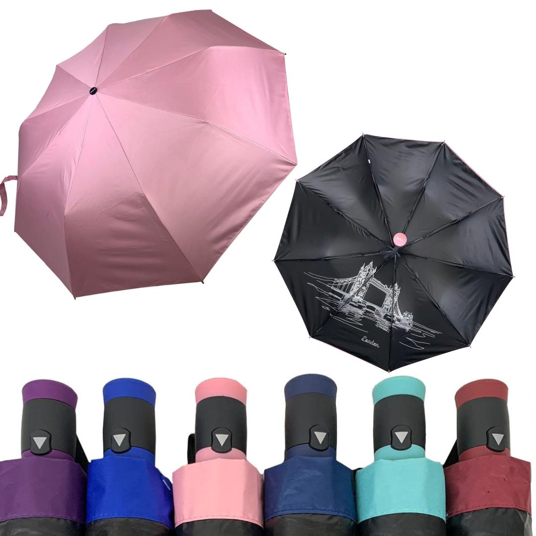 """Однотонный зонт-полуавтомат с изображением города на внутренней стороне купола, от фирмы """"Max"""", 3067"""
