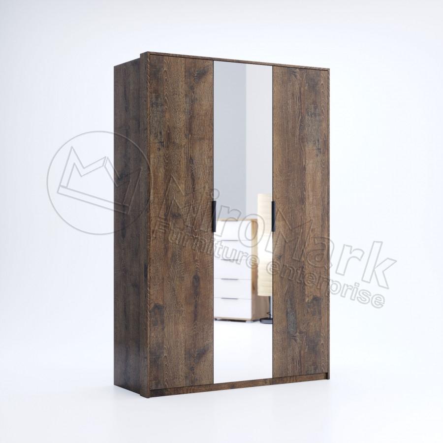 Шкаф Квадро 3 двери с зеркалом дуб фрегат ТМ Миро Марк