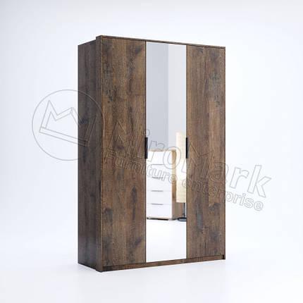 Шкаф Квадро 3 двери с зеркалом дуб фрегат ТМ Миро Марк, фото 2