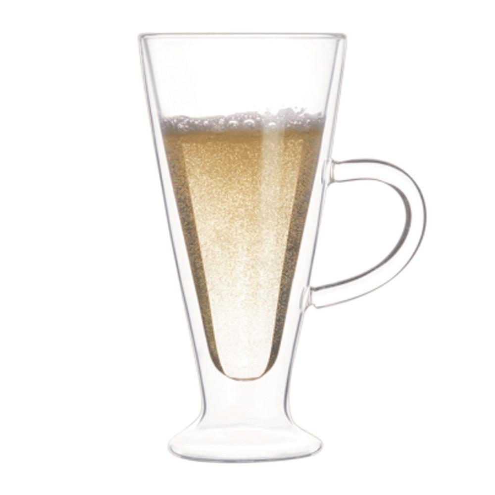 Кружка стакан с двойными стенками Айриш стеклянная прозрачная для латте капучино 400 мл