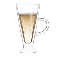 Кружка стакан с двойными стенками Айриш стеклянная прозрачная для латте капучино 400 мл, фото 1