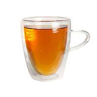 Чашка Ассоль с двойным дном стенками стекло прозрачная для напитков горячих холодных 300 мл, фото 1