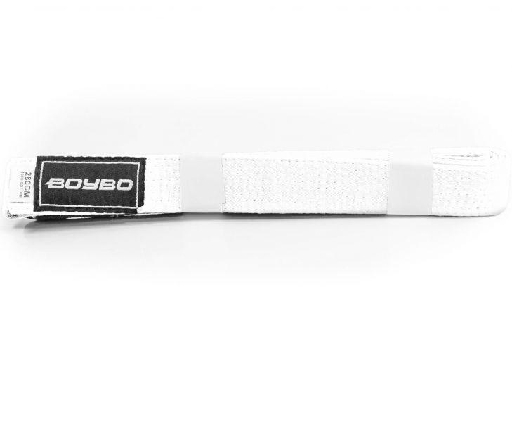Пояс для кимоно 2.8 м BoyBo WS1-11 белый из 100% хлопка, плотность 220 гр/см±5%