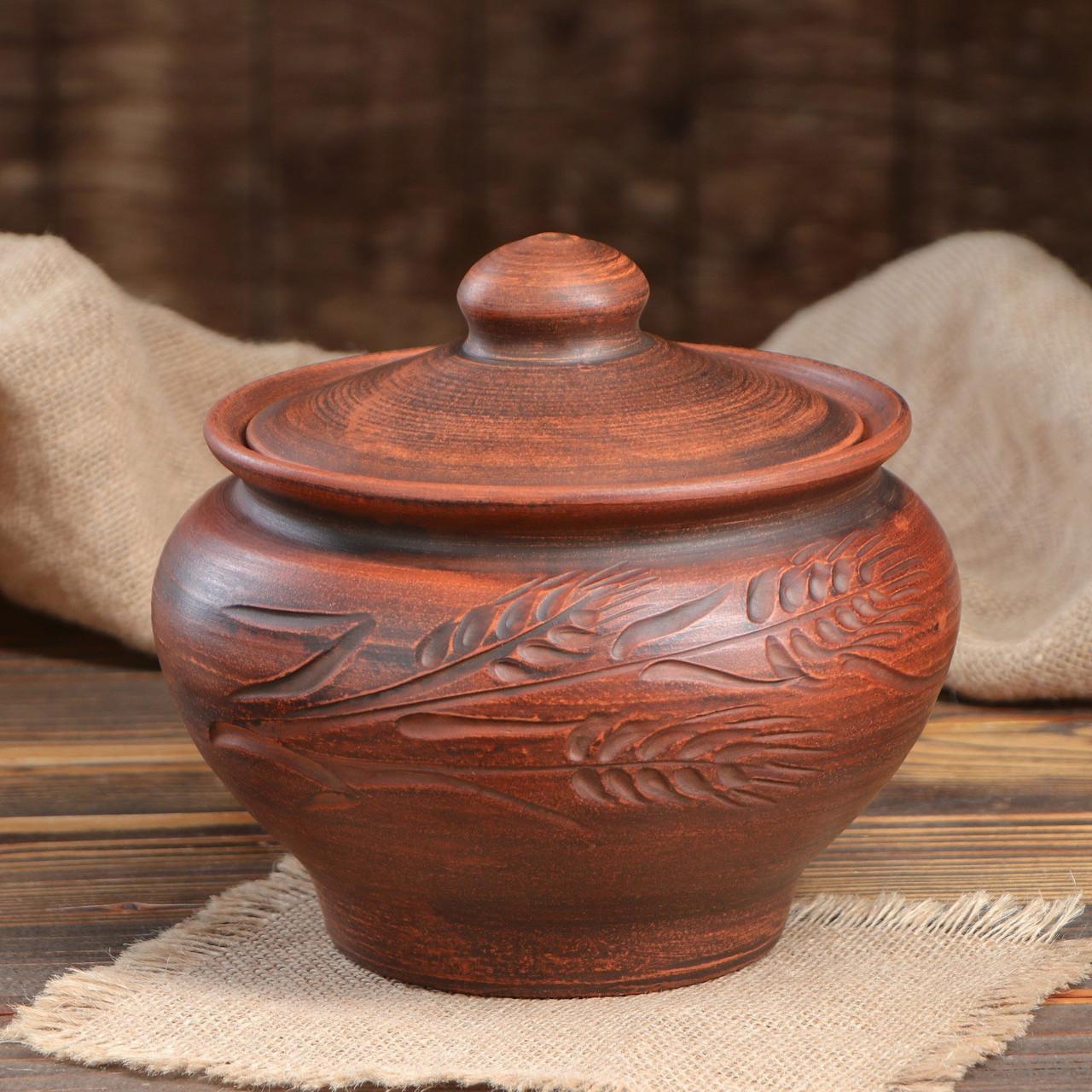 Жаровня духовая «Народная» красная керамика 3 л гончарная (752)