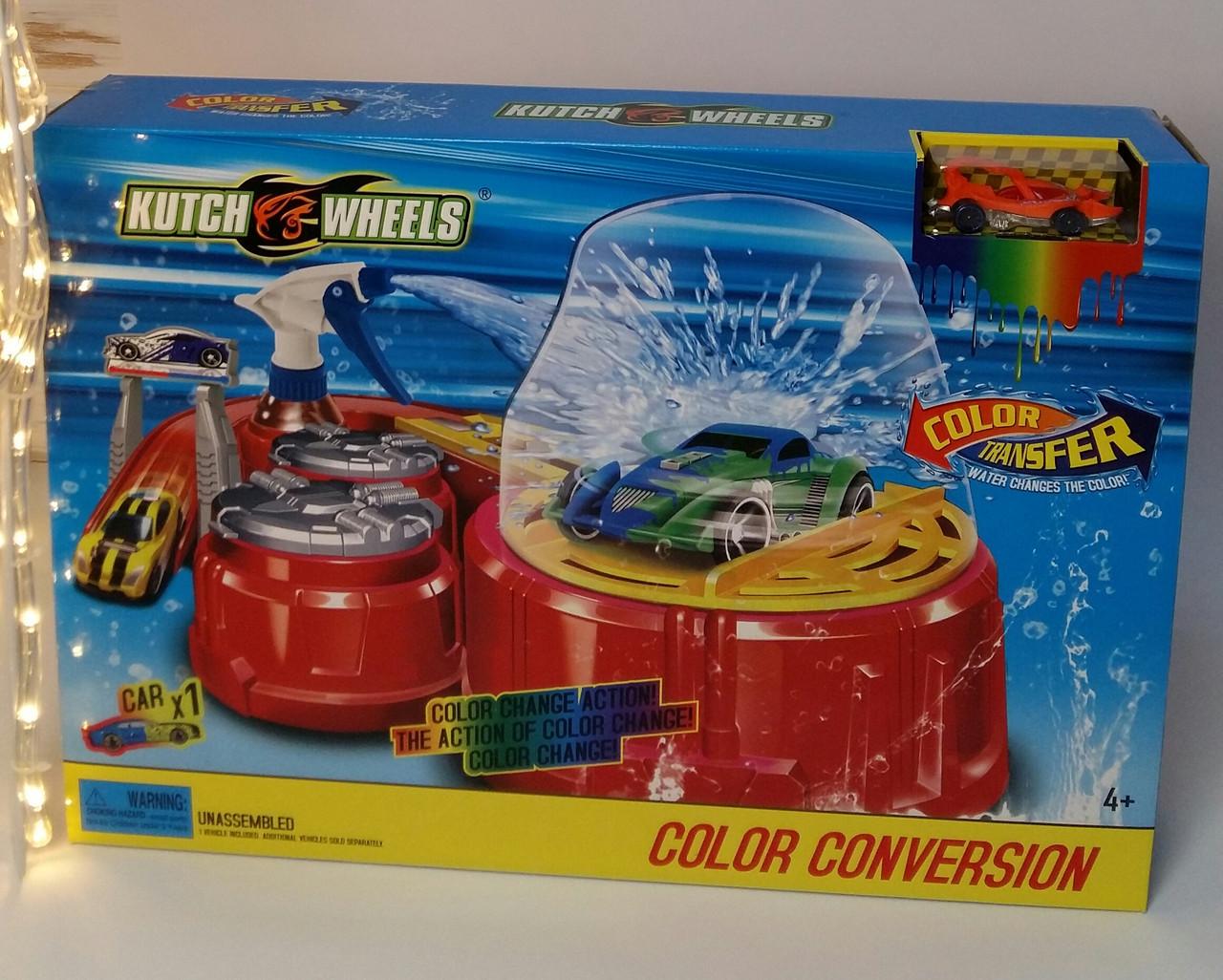Автомобильный трек Покраска авто, Машинка меняет цвет, аналог Hot Wheels, распылитель воды, вращение S 8837