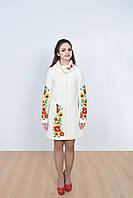 Роскошное кашемировое пальто в белом цвете свободного кроя с вышивкой