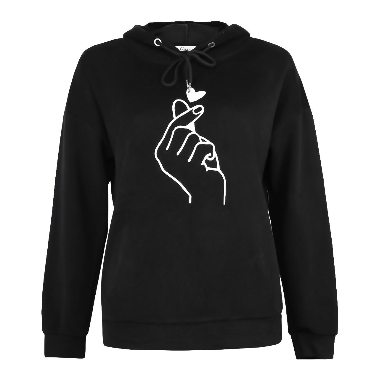 Худи женская черная с капюшоном корейское сердечко с пальцами р.M-XL