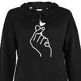 Худи женская черная с капюшоном корейское сердечко с пальцами р.M-XL, фото 2