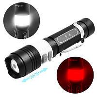 Фонарь Police X5-T6, ЗУ micro USB, 1x18650, светильник, зажим, zoom, Box