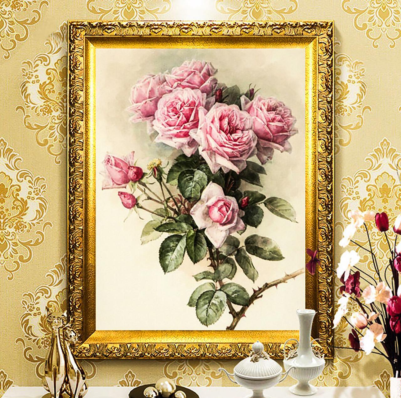 """Алмазная мозайка. Набор алмазной вышивки """"Винтажные розы"""". Размер 51*63 см."""
