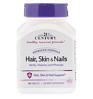 21st Century Волосся, шкіра і нігті, вдосконалена формула, 50 таблеток, фото 1