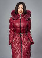 Зимнее женское молодежное пальто. Цвет вишневый.