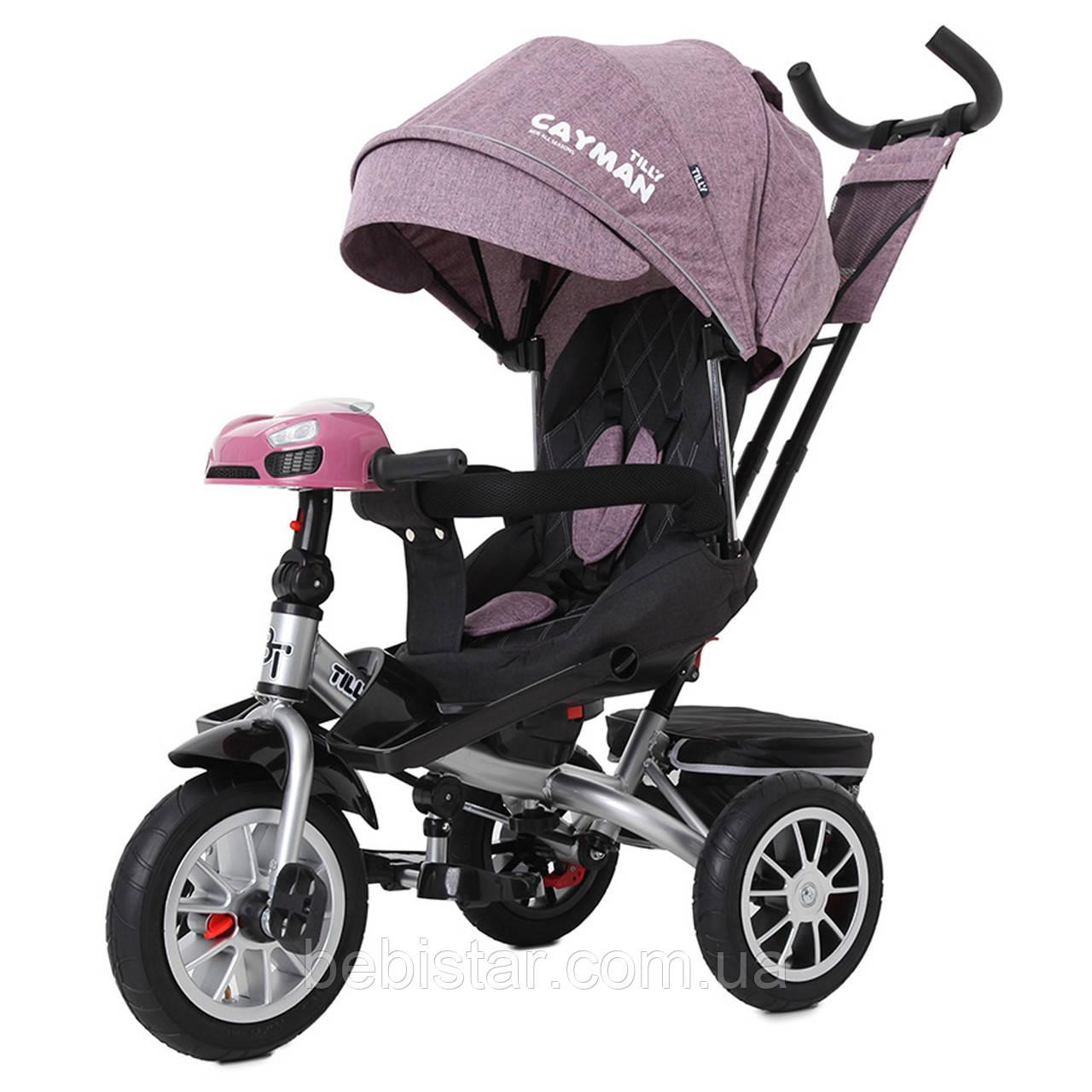 Трехколесный велосипед TILLY CAYMAN 381/5 фиолетовый лен пульт поворот сидения надувные колес музыка и свет