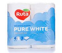 Туалетная бумага Ruta Pure White белая 3 слоя 4 шт.