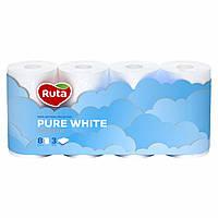 Туалетная бумага Ruta Pure White белая 3 слоя 8 шт.