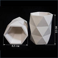 Кашпо декоративное из гипса для декупажа / рукоделья / декора форма Интер, h=11,0 см d=8,5 см