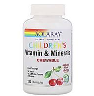 Solaray Детские жевательные витамины и минералы, натуральный вкус вишни, 120 жевательных таблеток, фото 1