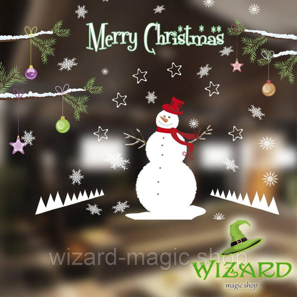 Интерьерная наклейка Рождественская Снеговик 50х70см