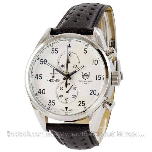 Часы мужские наручные Tag Heuer Carrera 1887 SpaceX Chronograph Black-Silver / реплика ААА класса / Видеообзор