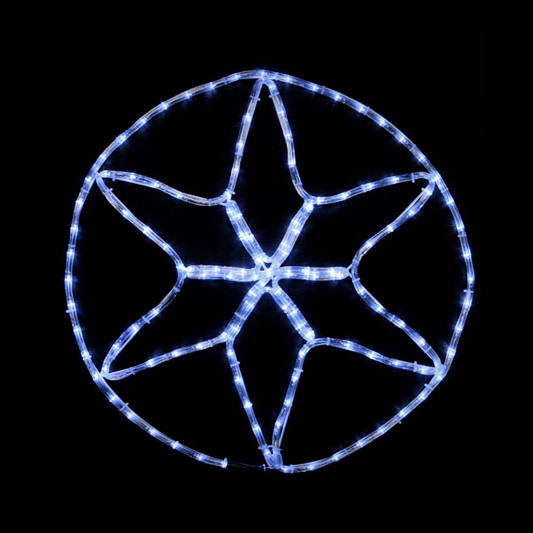LED украшение DELUX MOTIF Star 6 кон. 60*60см 13 flash белый IP44 EN