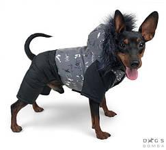 Комбінезон світловидбив 31 см (об'єм до 46см) зимовий розм 4 сірий/чорний  для собак