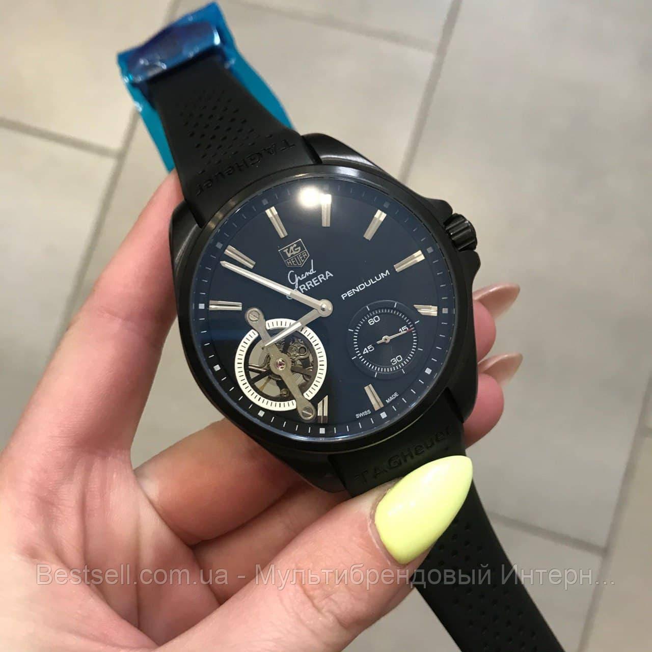 Часы мужские наручные Tag Heuer Grand Carrera Pendulum All Black / реплика ААА класса / Видеообзор