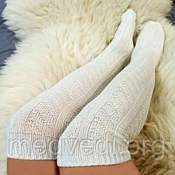 Бело-молочные женские гольфы 45см