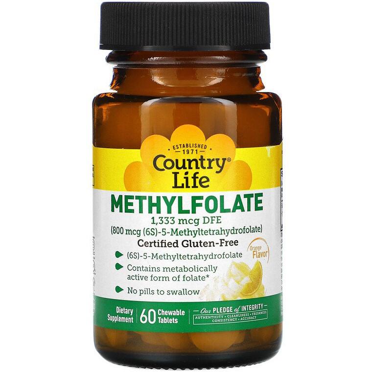 """Метилфолат Country Life """"Methylfolate"""" со вкусом апельсина, 800 мкг (60 таблеток)"""