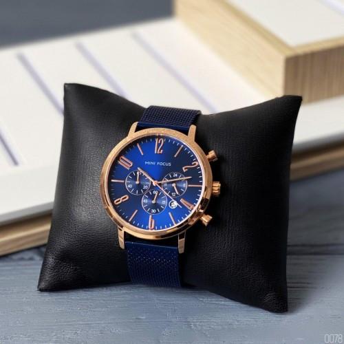 Часы наручные мужские Mini Focus MF0183G Blue-Cuprum-Blue синие с хронографом