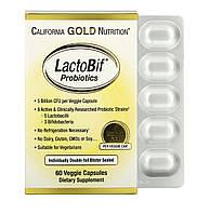 California Gold Nutrition LactoBif, пробіотики, 5 млрд ДЕЩО, 60 рослинних капсул