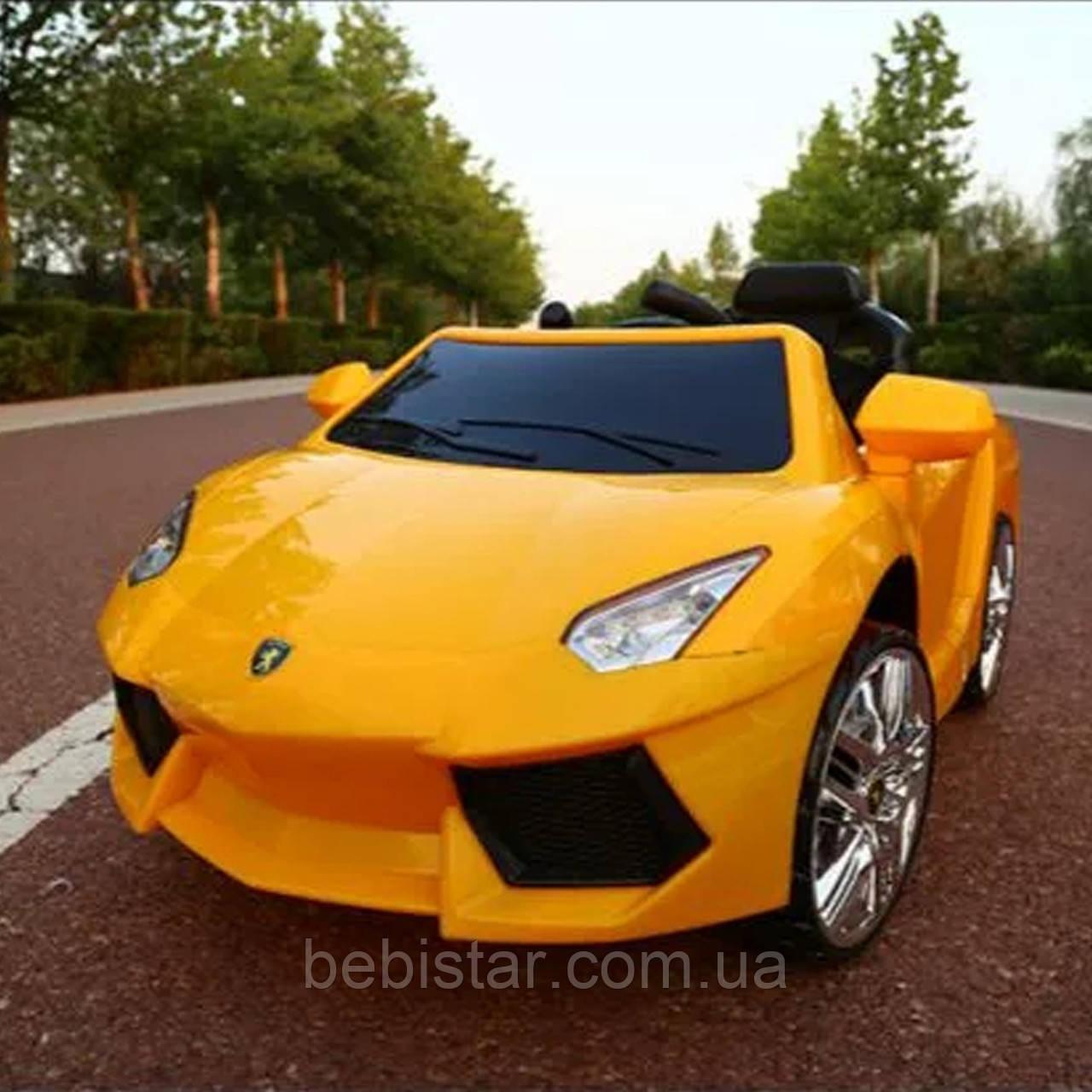 Детский электоромобиль суперкар желтый колеса EVA для 3-8 лет с пультом мотор 2*20W аккумулятор 2*6V4.5AH