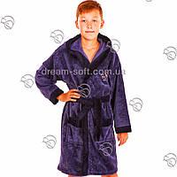 Халат детский для мальчика бамбук серо-синий, фото 1