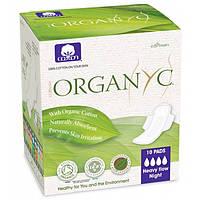 Прокладки для інтенсивних виділень нічні з крильцями органічні в індивідуальній упаковці 10 шт Organyc