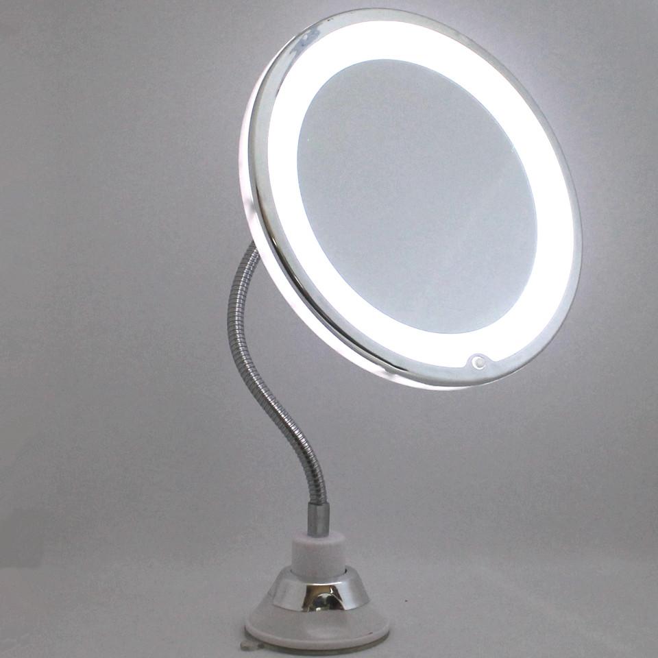 Круглое косметическое настольное зеркало на длиной ножке с Led подсветкой и увеличением 10x My Flexible Mirror