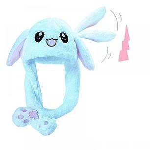Шапка заяц со светящимися двигающимися ушками Голубая, фото 2
