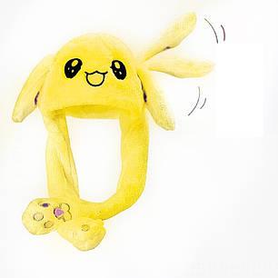 Шапка заяц со светящимися двигающимися ушками Желтая, фото 2