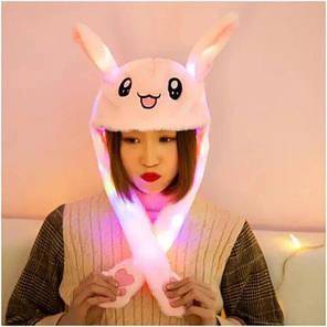 Шапка заяц со светящимися двигающимися ушками Розовая, фото 2