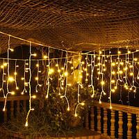 Гирлянда Бахрома на окно 4x0,6 метра 96 LED, 19 нитей, 220В, IP44. Светлодиодная Гирлянда Золото, Сos-1792-65