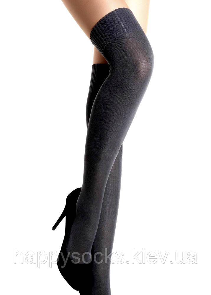 Хлопковые чулки-ботфорты-заколенники цвета темно-серый меланж