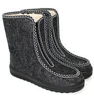 Зимнее женские ботинки бурки валенки из войлока серого цвета